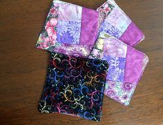 Fabric coasters patchwork mats set of 4 floral by StephsQuilts