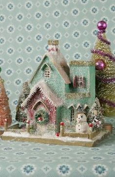 vintage christmas house : Cody Foster and Co Christmas Village Houses, Putz Houses, Christmas Villages, Mini Houses, Gingerbread Houses, Gingerbread Cookies, Noel Christmas, Retro Christmas, All Things Christmas