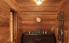 Interior Wood Paneling Cabin   Redwood Paneling   Desk Nook