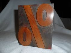 Letterpress Antique Wood Type Large Percent Sign % Measures 6 Inch Tall x 5 Wide