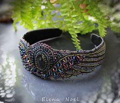 Wings  beaded headband with natural spectrolite   Bead by ElenNoel