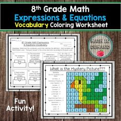 Students will be given 16 vocabulary words and definitions on 8th grade math expressions and equations. They will need to match the vocabulary words with the definitions. Students will complete the vocabulary then color the mystery picture according to the given color. Answer key is included. Vocab... 9th Grade Math, Adding And Subtracting Integers, Math Coloring Worksheets, Math Expressions, Math Vocabulary, Math Activities, Definitions, Mystery, Students