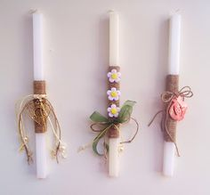 twine easter candles Wedding Unity Candles, Diy Candles, Christening Decorations, Orthodox Easter, Baptism Candle, Greek Easter, Palm Sunday, Flower Ball, Easter Crafts For Kids