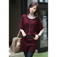 Morden Style Solid Color Batwing Short Sleeve Knitting Women's Winter Dress, WINE RED, ONE SIZE in Sweater Dresses | DressLily.com