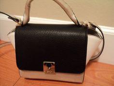 Cute Jessica Simpson Gina Silver Black Leather Satchel Handbag JS51010  #JessicaSimpson #Satchel