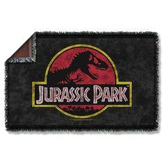 7d6cbf10e3363 Jurassic Park Classic Logo Woven Tapestry Blanket - Trevco - Jurassic Park  - Bed and Bath