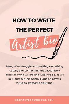 How to write the perfect artist bio // Art Business // Artist Biography // Art Business // Art Biz Tips // Sell Art Online // Art Website // Artist Website Etsy Business, Craft Business, Creative Business, Business Ideas, Online Business, Business Shirts, Bio Insta, Selling Art Online, Online Art