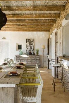 rustic elegance:  love the table; chairs; beams; bar; dresser/buffet; everything