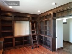 I need this library with rolling ladder by Misty Mountain Woodworks! Check it out!