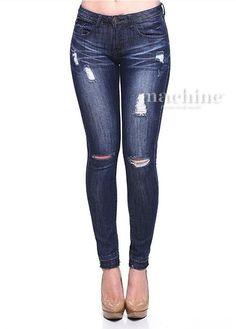 Women's Sexy Raw Hem Knee Ripped Stretch Cut Off Slim Skinny Jeans Blue Machine #MachineJeans #SlimSkinny