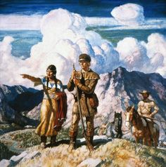 SACAJAWEA - The guide Sacajawea with Lewis and Clark. From the 'America in the Making' series. Oil and tempera on panel by N.C. Wyeth, 1940.
