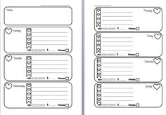 Week on Two Pages Filofax Inserts Printable (Hearts Checklist With Tracker) - Wendaful