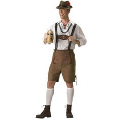 Da Uomo Oktoberfest Costume Tedesco Birra Bavarese Guy Lederhosen Costume Marrone