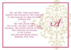 The Elegant Damask is Vintage One Sided Wedding Invitation.