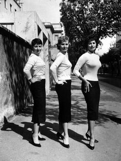 Sophia Loren (right) Poses With Her Mother (center) and Her Sister, Maria, in 1957...It's Easy to See That Divine Beauty Ran In This Family's Women...Three Beautiful Ladies Just As Stardom Was Descending Upon Sophia...And, Loren Remains A True Beauty Today...Well Into Her 70's...A Super Shot!!