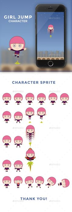Jump Game ¨C Girl C1Character for game jumpInclude file: EPS10, Illustrator, Transparent PNG NOTE: iphone mockup and background no