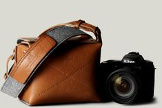 Compact leather camera bag for an SLR, digital or vintage camera. Handmade in Italy | hard graft