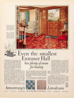 Even the smallest space can be beautiful! Small Entrance Halls, Armstrong Vinyl Flooring, 1940s Home, Vintage House Plans, Old Houses, Small Spaces, Interior Decorating, Marketing, House Styles