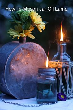 How To Make Mason Jar Oil Lamps...http://homestead-and-survival.com/how-to-make-mason-jar-oil-lamps/