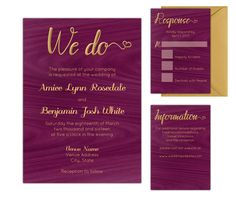 Rustic Purpleheart Wood Wedding Invitations - Wedding Invitation Kit - DIY Printable at home in Adobe Reader by AntonDigitalDesigns on Etsy
