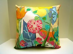 Flowers Gallore - Pillow - Hand painted - French Country - Flowers on White - Colorful - Art Pillow - 18X18