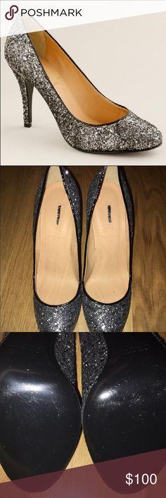 J.Crew Mona Glitter Pumps NEVER WORN J.Crew Mona Glitter Pumps in Graphite. Perfect condition. J. Crew Shoes Heels