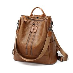 FIGROL Women Backpack Purse Soft PU Leather Casual Travel Bag  Multi-functional Waterproof Backpack with Headset Datecable Port(Brown) 68e7bf4c562e9