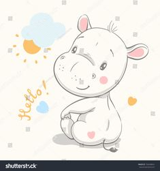 Find Cute Hippo Cartoon Hand Drawn Vector stock images in HD and millions of other royalty-free stock photos, illustrations and vectors in the Shutterstock collection. Baby Hippo, Cute Hippo, Illustration Mignonne, Cute Illustration, Painting Of Girl, Painting For Kids, Animals Vector, Hippo Drawing, Baby Posters