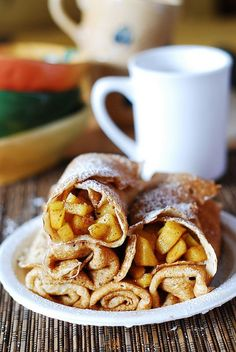 Apple cinnamon crepes stuffed with apples: American pie meets French dessert! Eat it for breakfast or dessert or both!