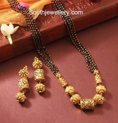 Simple Mangalsutra Chain and Earrings Set photo