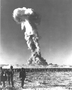 Some of the 6500 American soldiers watching the 'Desert Rock' atomic explosion,1951
