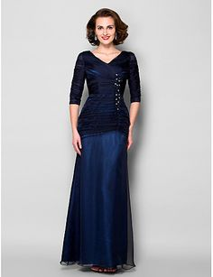 Sheath   Column V Neck Floor Length Chiffon   Tulle Mother of the Bride  Dress with cae79fb7a41