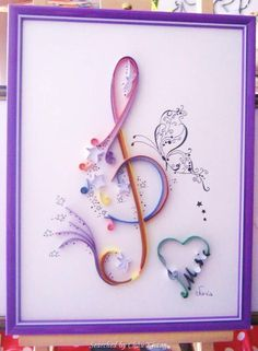 @ Evacia- Quilled treble clef pictures (Searched by Châu Khang) Quilling Craft, Quilling Patterns, Paper Quilling, Crafts To Make, Fun Crafts, Arts And Crafts, Paper Crafts, Treble Clef Art, Quilling Techniques