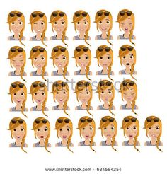 Young blonde girl with twenty five different face expressions.
