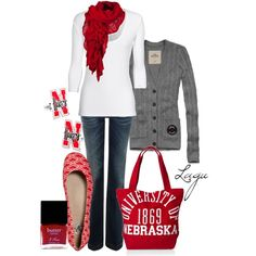 """LOVE! """"nebraska game day!"""" ... for me, it doesn't have to be Nebraska... I just like the outfit :-)"""