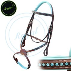 Royal Blue Round Ring Diamond Figure 8 Bridle with Blue Padding & PP Rubber Reins. - Bridles & Reins. - 2