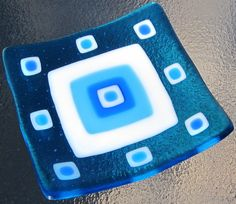 Fused Glass Plate, Turquoise and Blue Squares