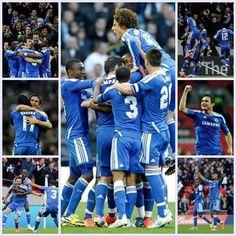 Tottenham 1 - Chelsea 5 (FA Cup Semi-Final) Didier Drogba celebrates scoring his goal — en Wembley Stadium. Chelsea Fc Team, Association Football, Wembley Stadium, Fa Cup, Love Affair, Premier League, My Boys, Blues, Soccer