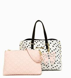 NWT Betsey Johnson Bag in a Bag Tote Satchel Spotted Polka Dot with Pink Pouch #BetseyJohnson #ToteSatchel