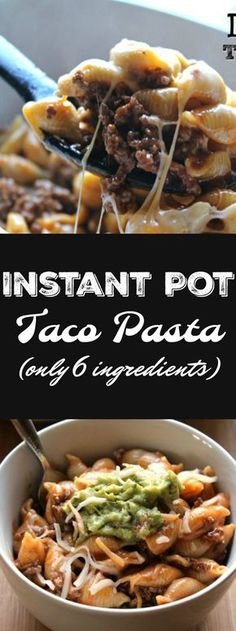 Instant Pot Taco Pasta – ONLY 6 ingredients and about 10 minutes needed! Not onl… Instant Pot Taco Pasta – ONLY 6 ingredients and about 10 minutes needed! Not only will your kids love this but YOU will too! Slow Cooker Recipes, Beef Recipes, Cooking Recipes, Healthy Recipes, Delicious Recipes, Cooking Time, Cheap Recipes, One Pot Recipes, Pressure Cooker Recipes Pasta