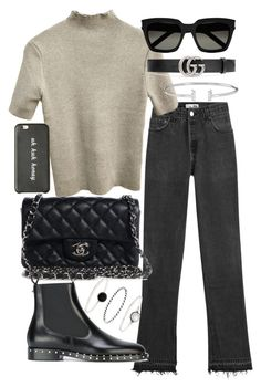 """""""Untitled #20798"""" by florencia95 ❤ liked on Polyvore featuring RE/DONE, Yves Saint Laurent, Chanel, Gucci, Valentino and Accessorize"""