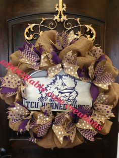 For all our TCU Horned Frogs fans!!! Rah Rah! Go TCU! This gorgeous all natural burlap wreath has been embellished with a real wooden sign & four different burlap ribbons with polka dot (purple & white) chevron & solid. Texas Christian University wreath created by aDOORable cute creations on Facebook https://www.facebook.com/AdooRableCuteCreations?ref=hl