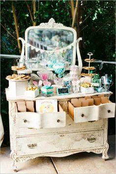 Un romántico candy bar para tu boda