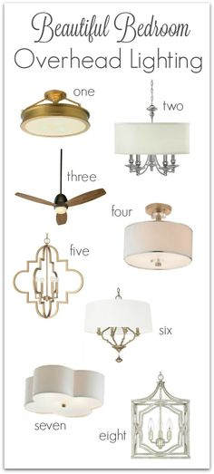 Flushmounts, chandeliers, ceiling fans, and pendants that are perfect for overhead bedroom lighting. I especially love #5!