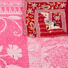 Sally Campbell, Handmade Textiles - Pink and Red Throw