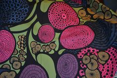 """Decorator IKEA Fabric Large Print 59"""" wide Bright Colors Blue Pink Green Black Tan Purple by LavenderNThyme on Etsy"""