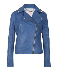 Leather biker jacket - Bright Blue | Jackets & Coats | Ted Baker NEU