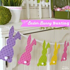Easter Bunny Bunting on mantel square labeled at The Happy Housie