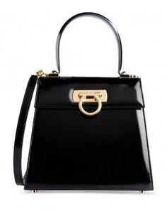 Salvatore Ferragamo Black Patent Leather Satchel
