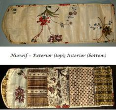 Huswif with glazed cotton block and roller prints, early 19th cen., hand sewn, rectangular box w/ rounded closure, huswif also hand sewn w/ back of glazed cotton roller printed floral & edged with this fabric, 4 other pockets of different fabrics, some block printed, each pocket hemmed w/ different fabric and backed with white cotton